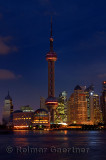 Twilight and night lights of Pudong east side Oriental Pearl tower of Shanghai China