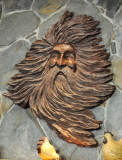 Old-Man-Wind carved in wood -- restaurant area