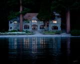 Vikingsholm Mansion at sunset