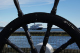Eurodam through a ship's wheel