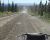 This is the highway from Fairbanks to the Arctic Circle and to Purdue Bay. The dust cloud ahead is a truck coming our way.