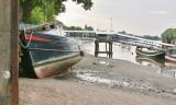 Girl Irene temporarily moored at the slipway by Putney Bridge.