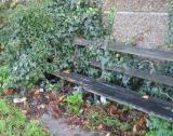 Public seat on towpath. Needs a teeny bit of maintenance.