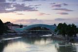 Tbilisi, Mtkvari river and Peace bridge