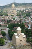 Tbilisi, Metekhi church and Sameba cathedral