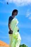 Woman bird sky