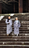 Two Buddhist Monks Down the Stairs of Chionin Temple
