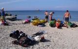 Unpacking our kayaks