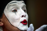 Clown with a white face