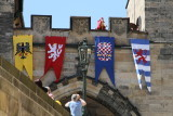 Flags on tower gate