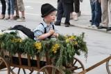 Little boy in wagon