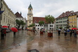 Old Town Square-Bratislava (only rain on our trip!)