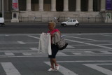 Gypsy woman selling sweaters