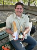 Our picnic on our last day!  Baguette, cheese, champagne...