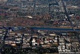 Aerial of Tempe, AZ with Sun Devil Stadium and Wells Fargo Arena