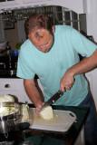 Dan cuts the cabbage