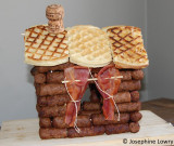 sauage cabin with bacon curtains