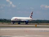 BA 777 arrives at Dulles