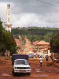 View down the street leading to the mosque and market