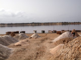 Salt piles beside the lake