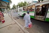 Entering bus - Dushanbe