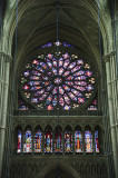 Great Rose window on the front facade of Reims Cathedral