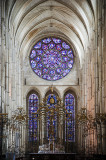 High altar and rose window at Laon Cathedral