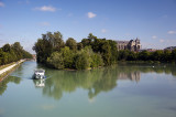 River Marne and cathedral beyond at Chalons-en-Champagne