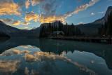 Emerald Lake Chalet Bridge At Dawn - Yoho National Park