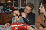 Giving brother Trenton his Christmas presents