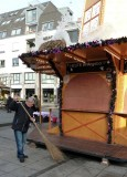 Sweeping up at the Christmas Market in Koblenz
