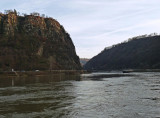 Lorelei Rock (on left) Marks Narrowest Part of Rhine Between Switzerland & the North Sea
