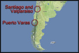 Map of Puerto Varas, Santiago, and Valparaiso
