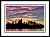the little castle bathed in gorgeous colors at sundown...