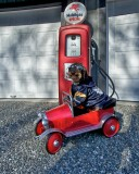 Oliver Franks first fill up with his new red  truck