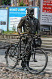 A monument of a man with bicycle called - Stary Marych