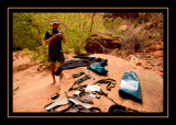 Drying Our Gear Out in Neon Canyon
