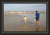 Exploring the mud flats at low tide