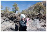 Norah amidst the lava rocks