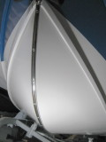 Last detail before initial sea trial (the sheer guard can wait):  Stainless keel guard under the bow; more 4200 work.