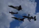 FIA 3-26-2011 - First- Four Aircraft Heritage Flight - P-51, F-22 ,F-16, A-10 Wart Hog