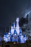 Cinderella Castle and Lightning Storm at Night