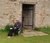 Me, Lady  and  Max  outside  Cedd's  Chapel.