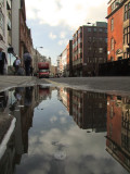 Mortimer  Street  reflected  in  a  puddle.