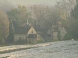 Luddesdown  Village  Hall  in  morning  mist.