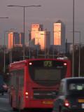 The  light  of  dawn  illuminates  the  towers.