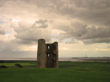 Hadleigh  Castle, southeast  tower, under  stormy  skies.