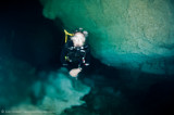 Mike in a halocline in Chac Mool Cenote