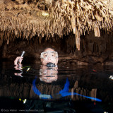 Mike inside Chac Mool Cenote air pocket
