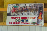 A Sign Made For Donita's Birthday (hanging in the arena)